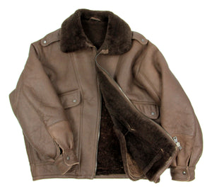 Short Shearling Aviator Style Jacket in Dark Brown, SIZE L - second_first