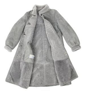 Light Gray Mid Length Shearling Coat, SIZE S