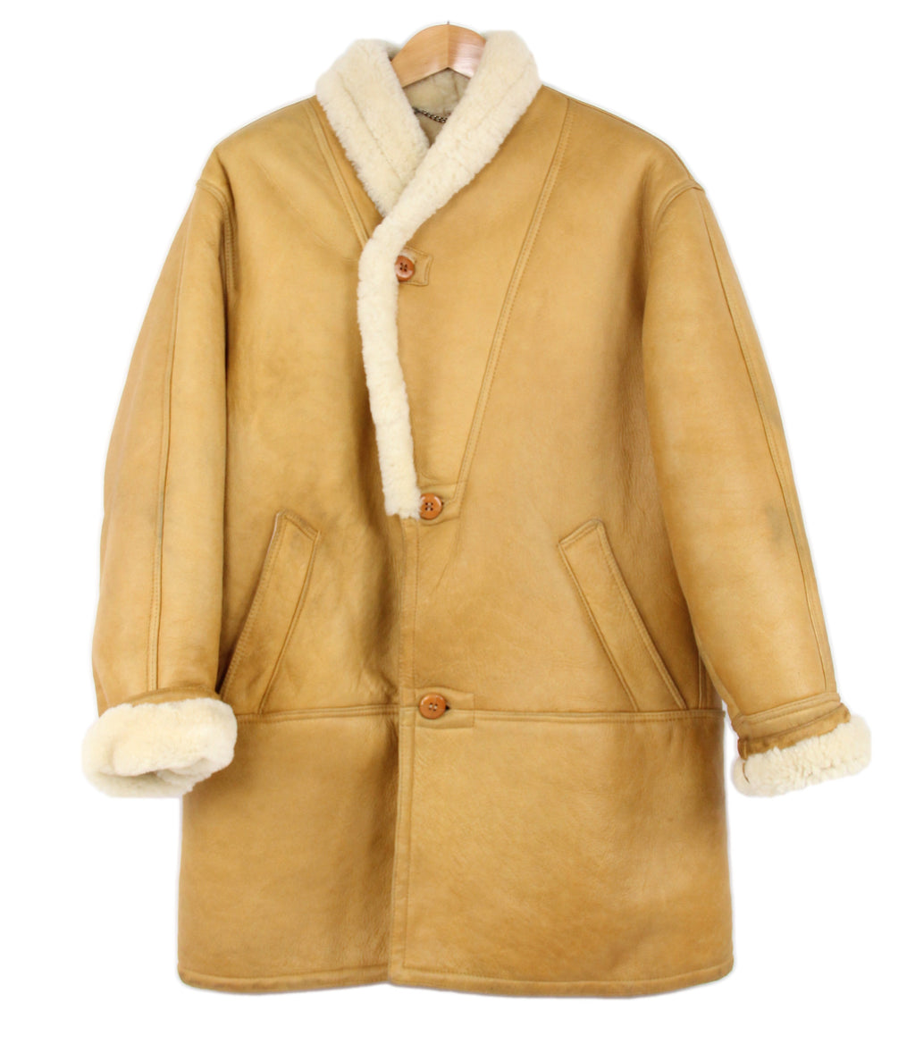 Light Camel Brown Supple And Chunky Shearling Coat, SIZE 42