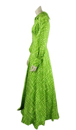 Vintage 70's Boho Chic Green Silk Blend Maxi Dress, Size S