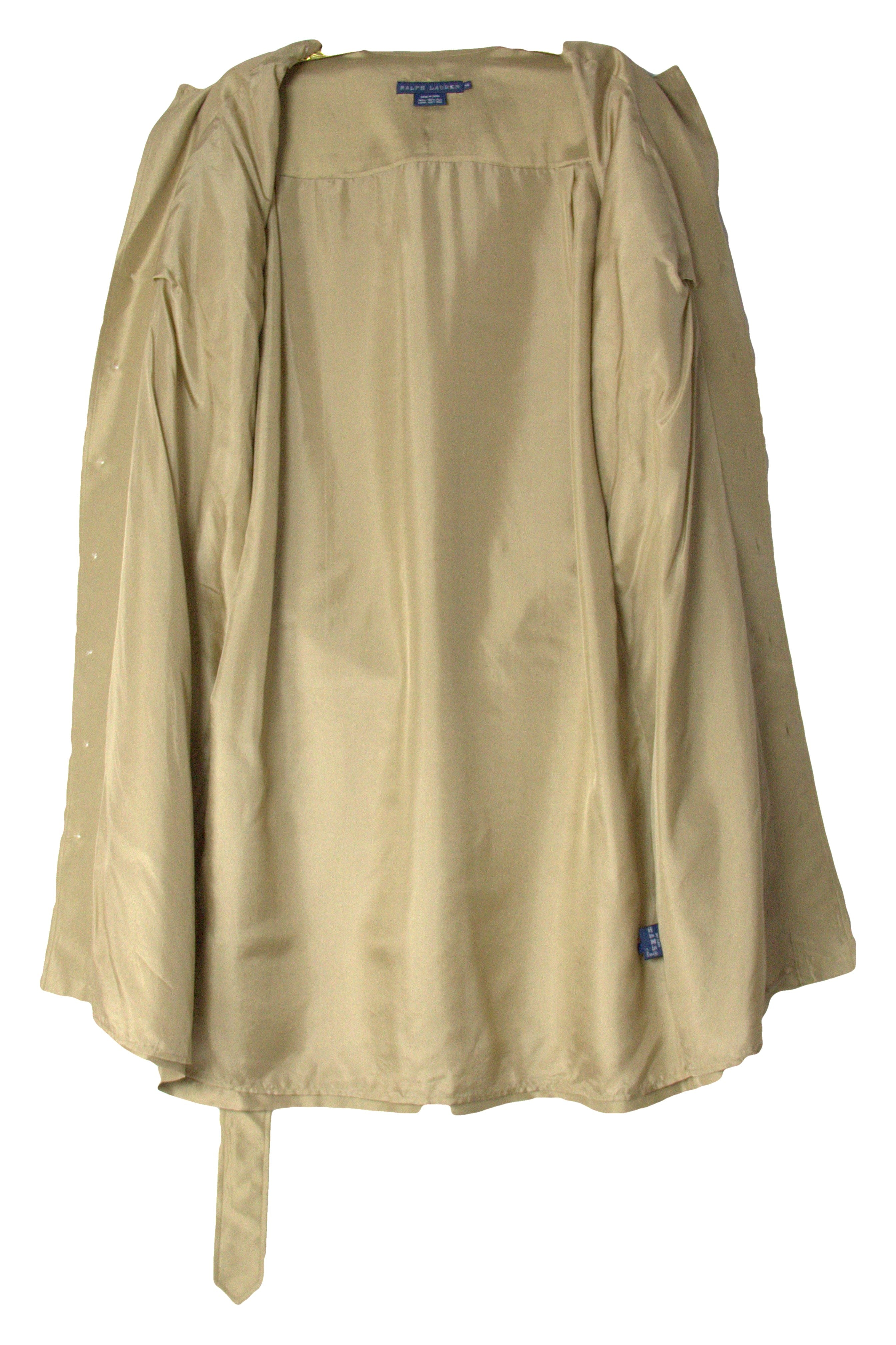 Ralph Lauren 100% Silk Safari Shirtdress, Size L - secondfirst