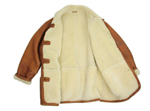 Vintage Soft Sheepskin Leather Shearling Coat, SIZE L - second_first