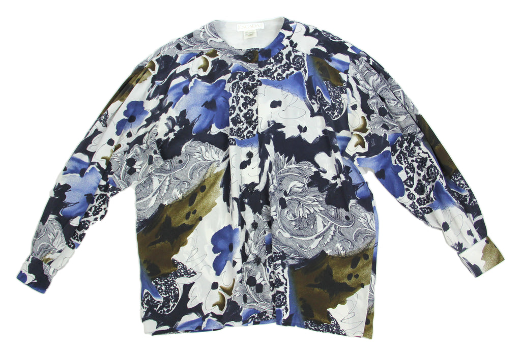 Vintage Escada by Margaretha Ley 100% Silk Blue Watercolor Floral Blouse, L