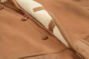 Camel Brown Soft Leather Sheepskin Shearling Coat, Men's XL