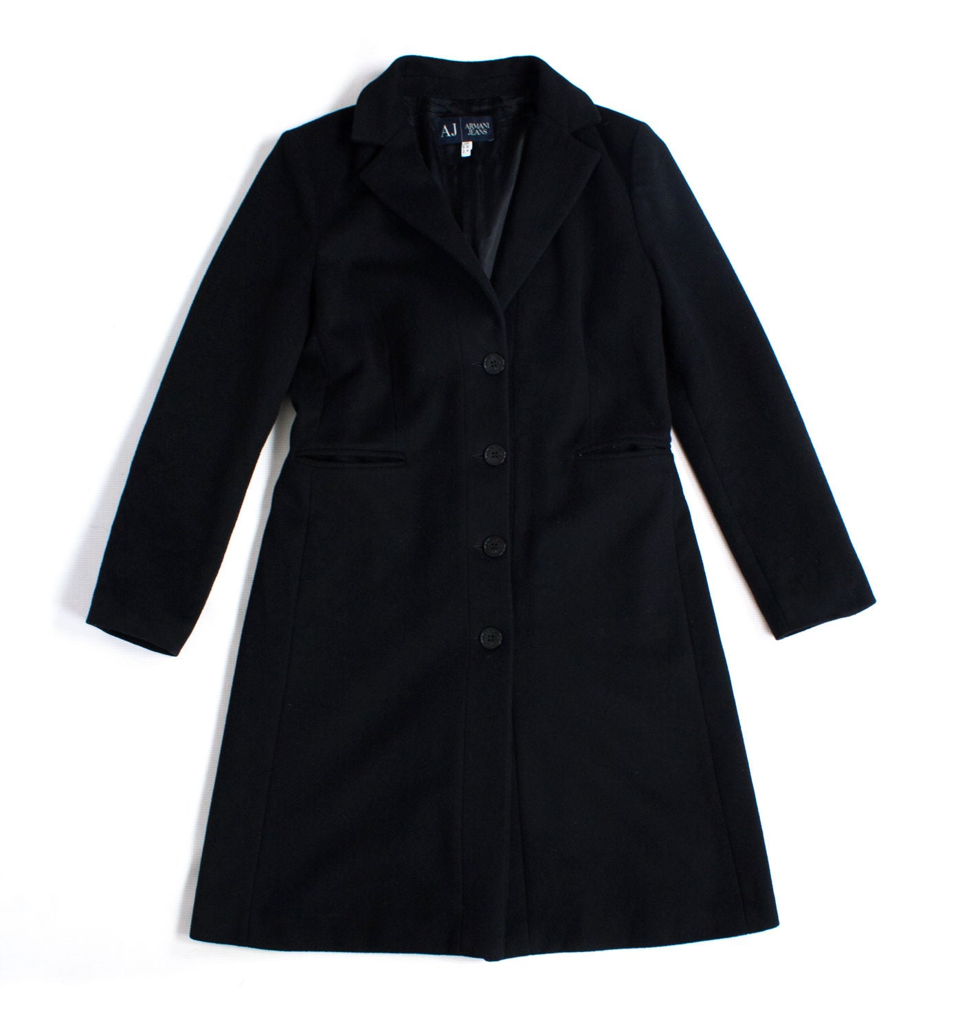 Armani Black Wool Blend Coat SIZE M, USA 6 - secondfirst