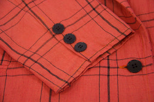 Vintage Plaid Coral Double Breasted Blazer & Shorts Suit, S-M - secondfirst