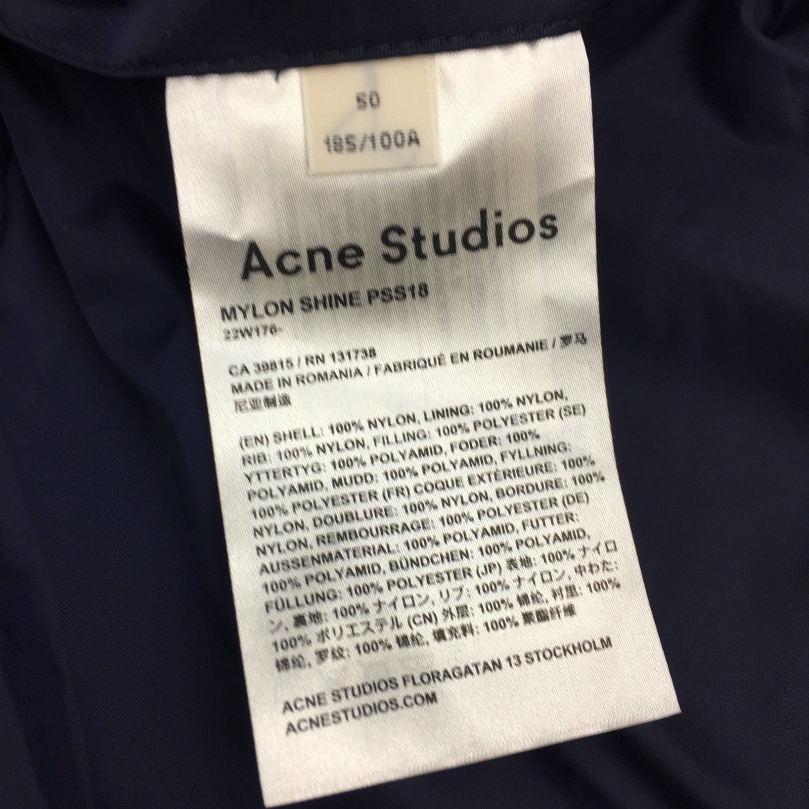 ACNE STUDIOS Midnight Blue Bomber Jacket, US40, EU 50 - second_first