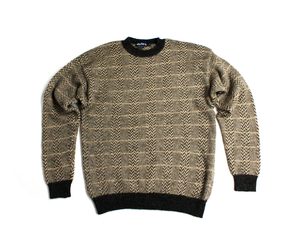 NAUTICA men's Alpaca Silk Brown-Gray Jacquard Sweater Jumper, L - secondfirst