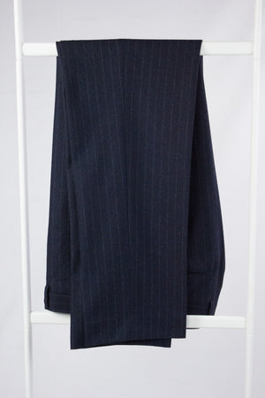 BOGLIOLI Navy Blue Flat Front Pants Size EU 52, 34X32 - secondfirst