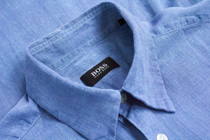 HUGO BOSS Black Label Men's Blue Linen Shirt, SIZE L - secondfirst