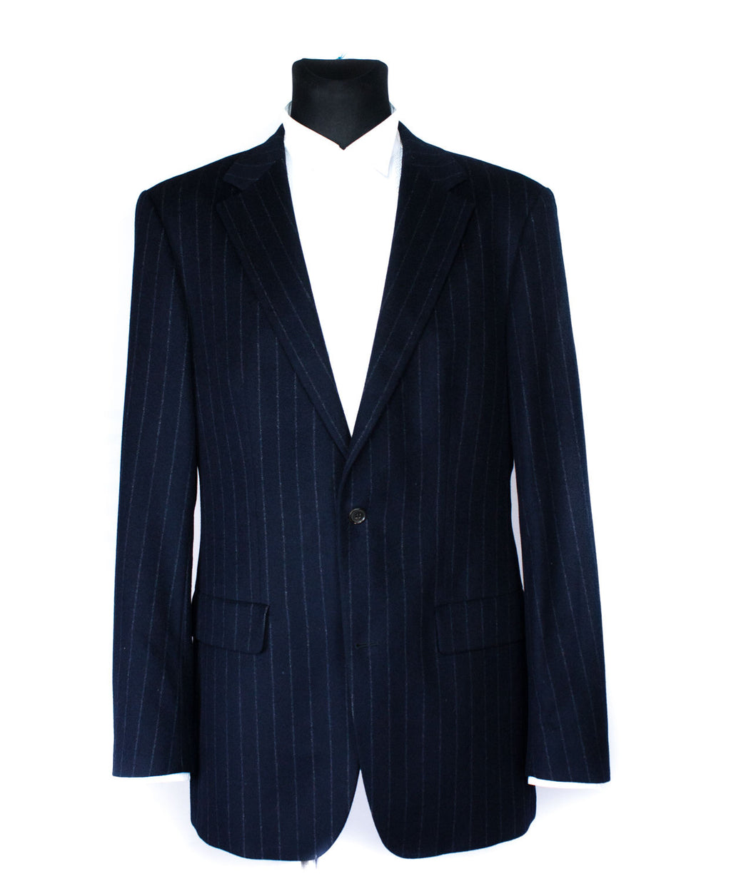 HUGO BOSS Cashmere-Wool Navy Blue Striped Blazer, US42L/EU102 - secondfirst