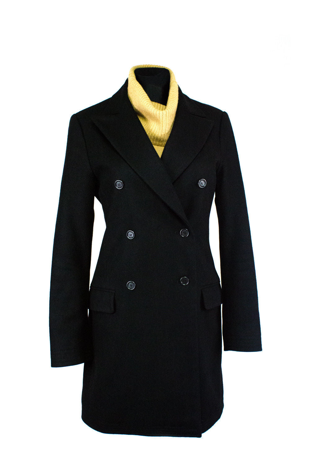 KARL LAGERFELD x H&M Black Cashmere-Wool Double Breasted Coat SIZE US 8 - secondfirst