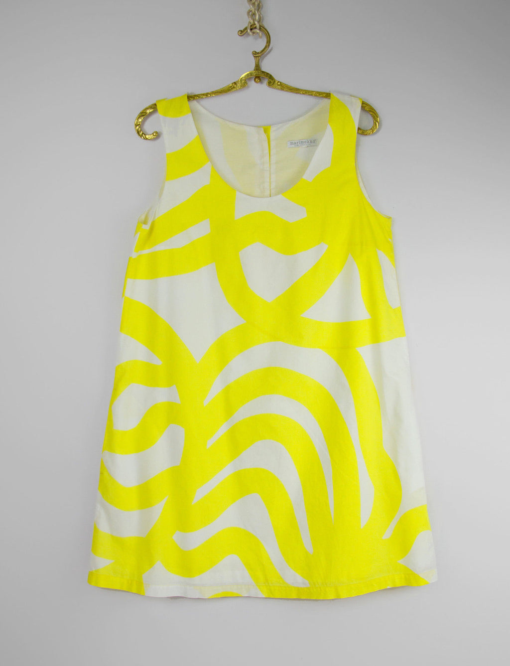 MARIMEKKO X Samu Jussi Koski Cotton Yellow Short Dress US 10, EU 38, UK 12 - secondfirst