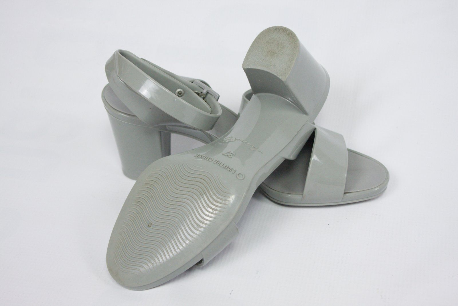 L'AUTRE CHOSE Gray Rubber Heel Sandals, EU 37/UK 4/US 6.5 - secondfirst