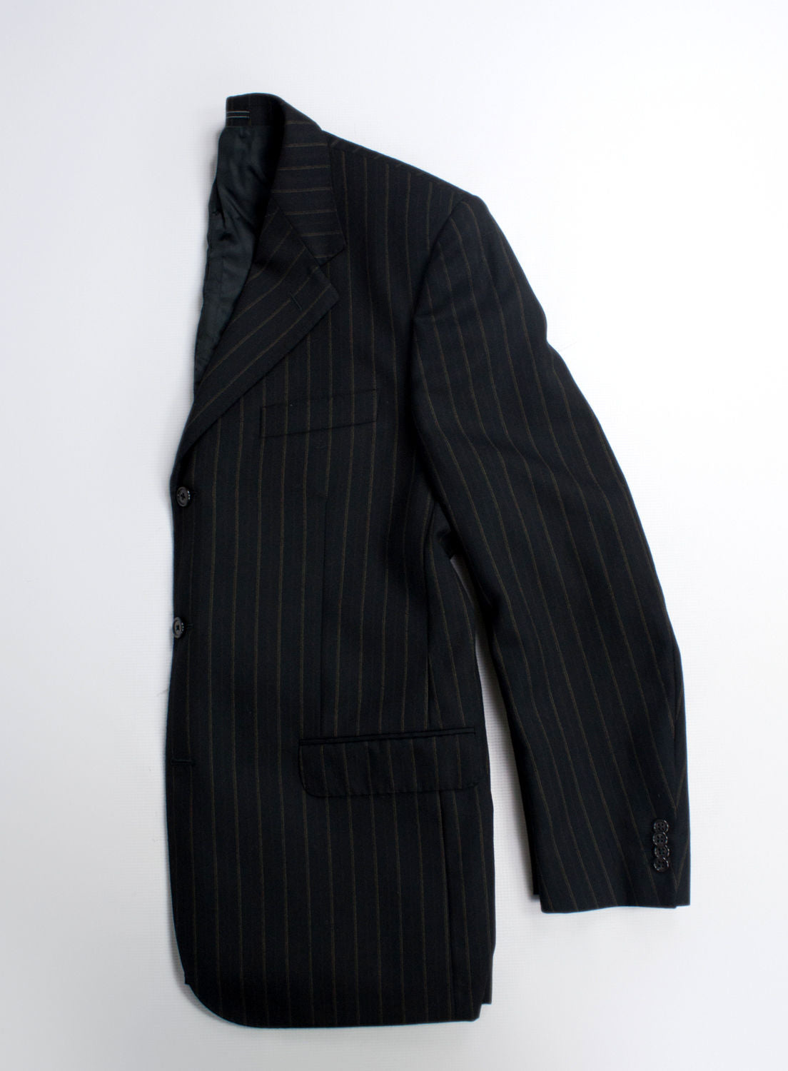 CORNELIANI Wool Striped Black Blazer, USA 42R/EUR 52R - secondfirst