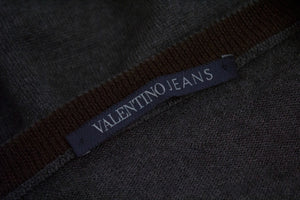 VALENTINO Jeans Wool Gray V-Neck Jumper, L - secondfirst