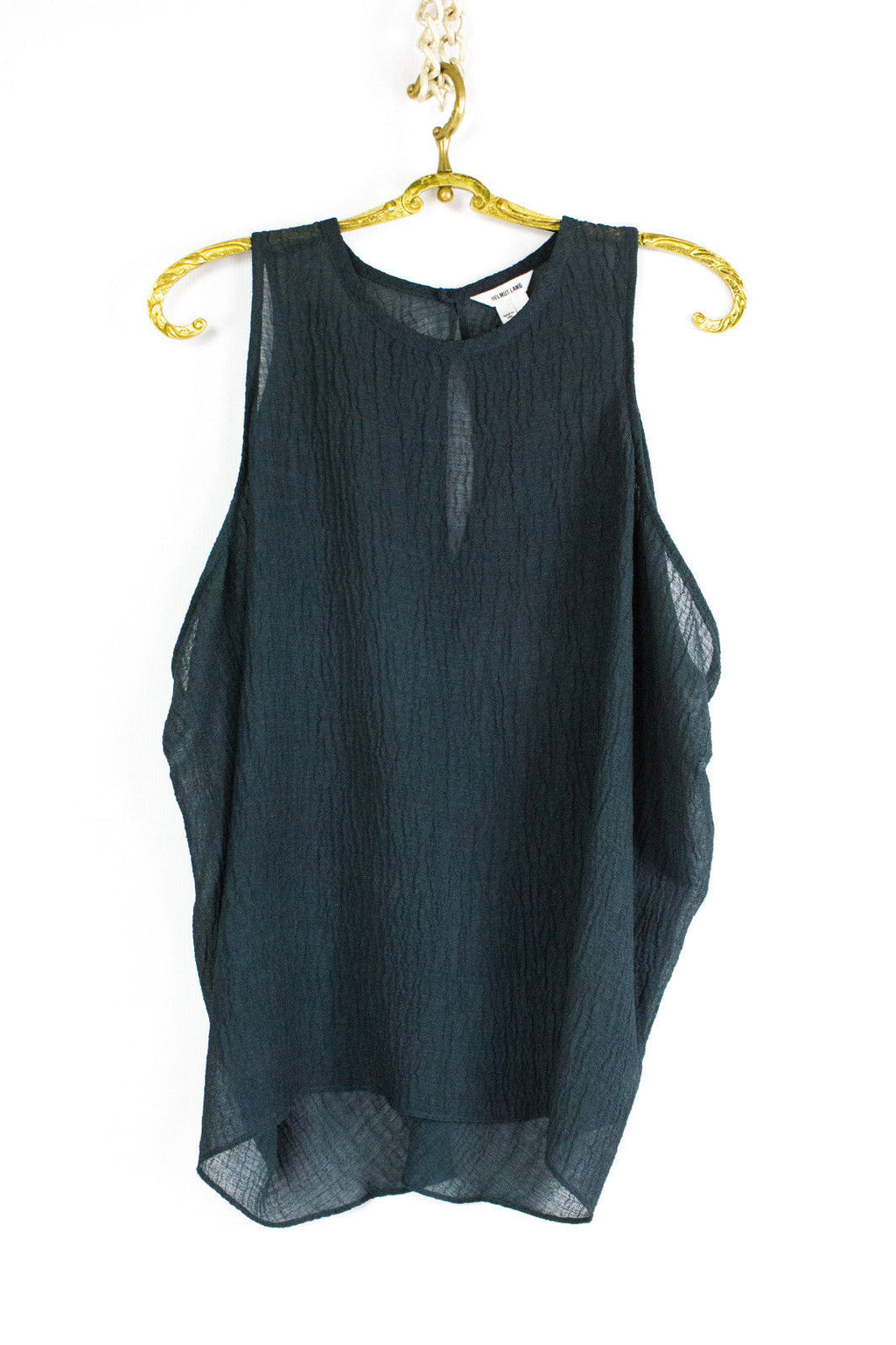 HELMUT LANG Dark Green Sheer Sleeveless Top Blouse, SIZE S - secondfirst