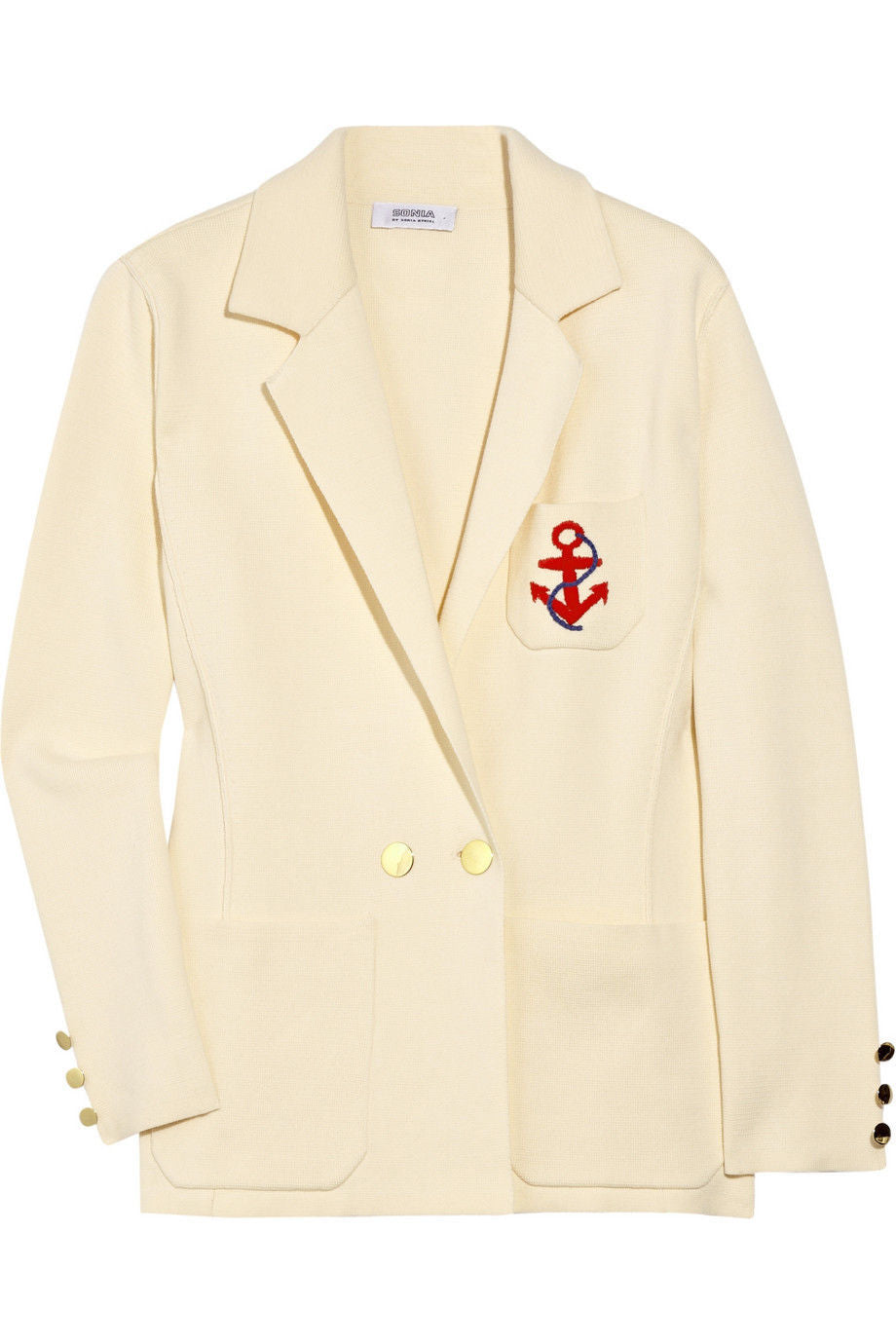 SONIA by SONIA RYKIEL Anchor Embroidered Cotton Blazer SIZE M - secondfirst