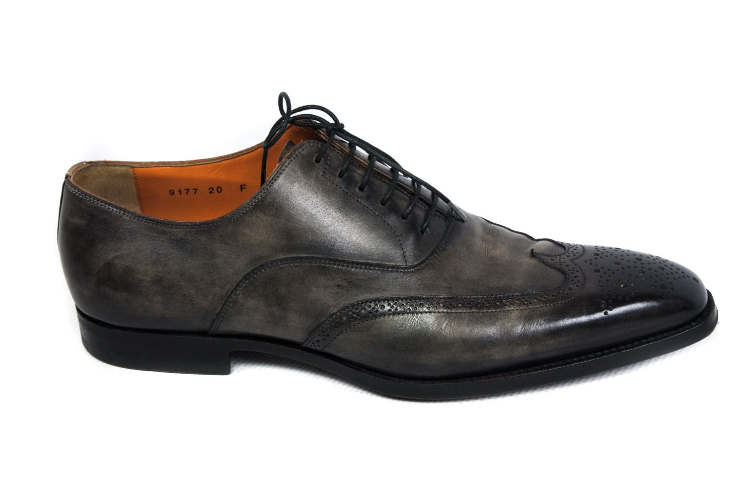 SANTONI Aged Leather Brogue Wingtip Oxford Shoes USA 9.5 - secondfirst