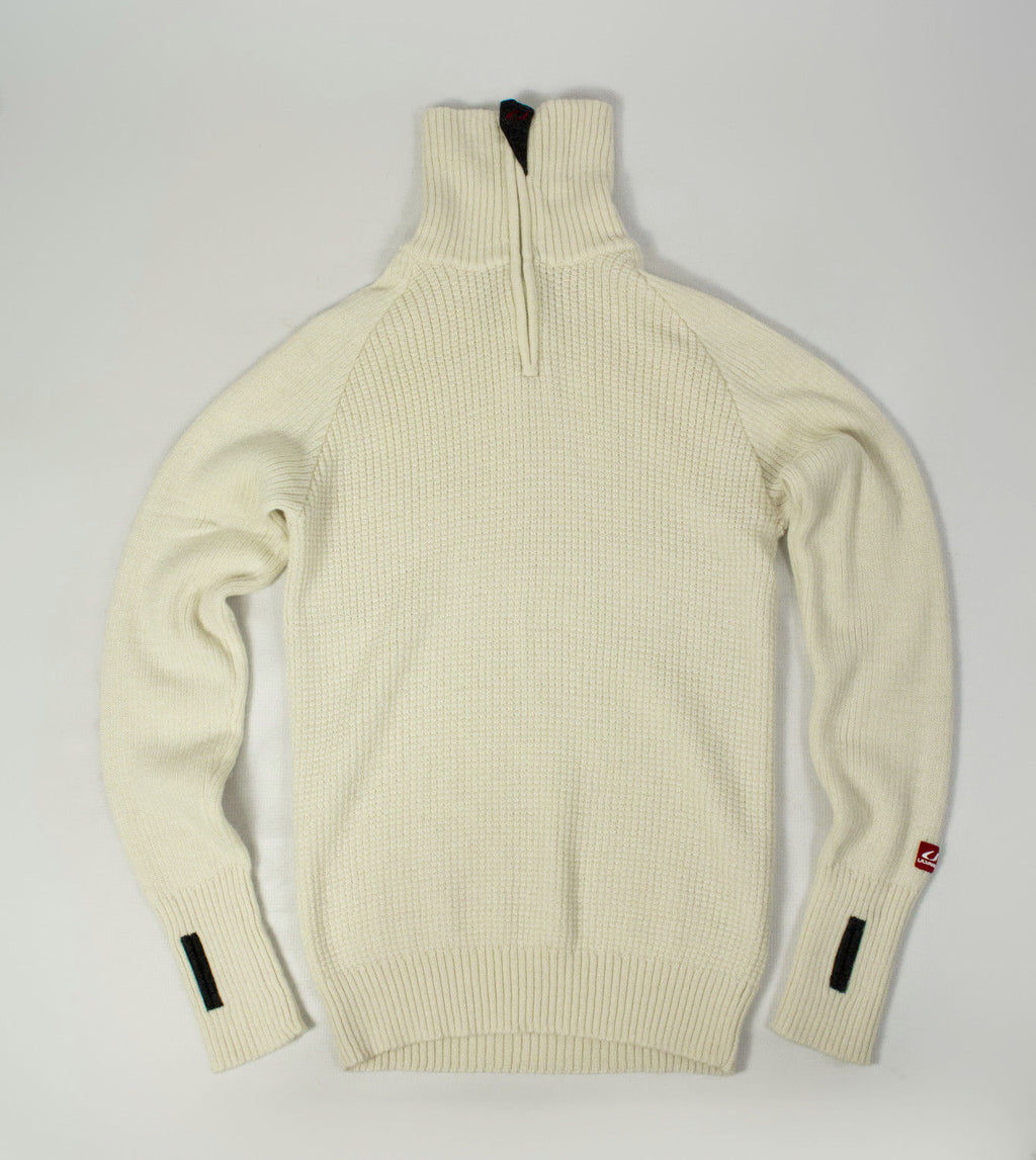 ULVANG Wool Zip Neck White Unisex Sweater Ski Jumper, L - secondfirst