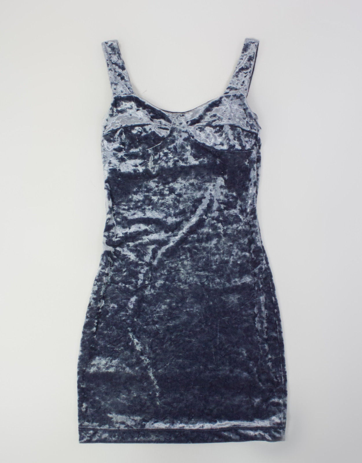 CHEAP MONDAY silver gray velvet mini dress, SIZE XS - secondfirst