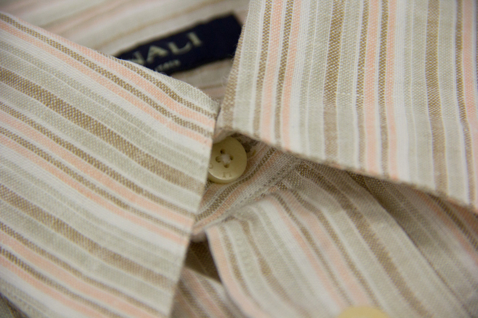 CANALI Linen Washed Colors Striped Men's Shirt, SIZE L - secondfirst