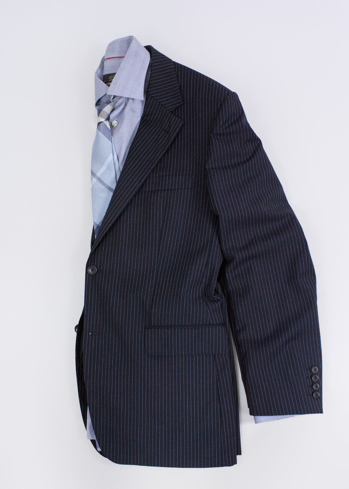 HUGO BOSS Wool Navy Striped Blazer Jacket, EU 50, US 40R - secondfirst