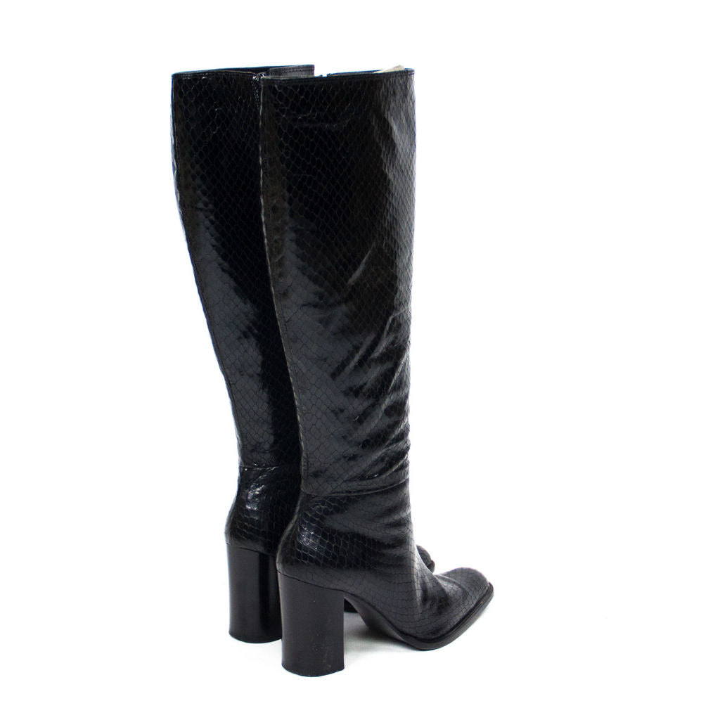 DIBRERA Italian Leather Snake Skin Pattern Black Boots EUR 37, UK 4, US 6.5 - secondfirst