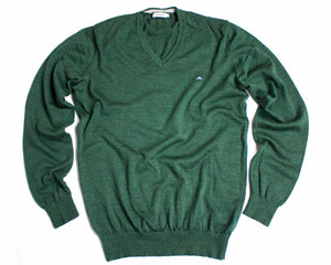 J. Lindeberg Merino Wool Forest Green Thin V-neck sweater/jumper SIZE L - secondfirst
