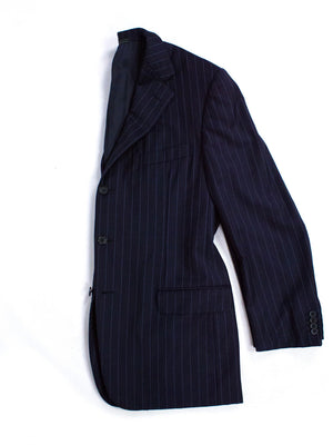 Ermenegildo Zegna Canvassed Striped Navy Wool Suit, US 42 R/ EU 52 - secondfirst