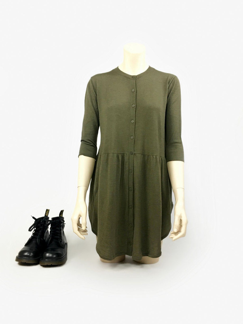 COS Thin Merino Wool Khaki Green Loose Tunic Dress Size XS - secondfirst