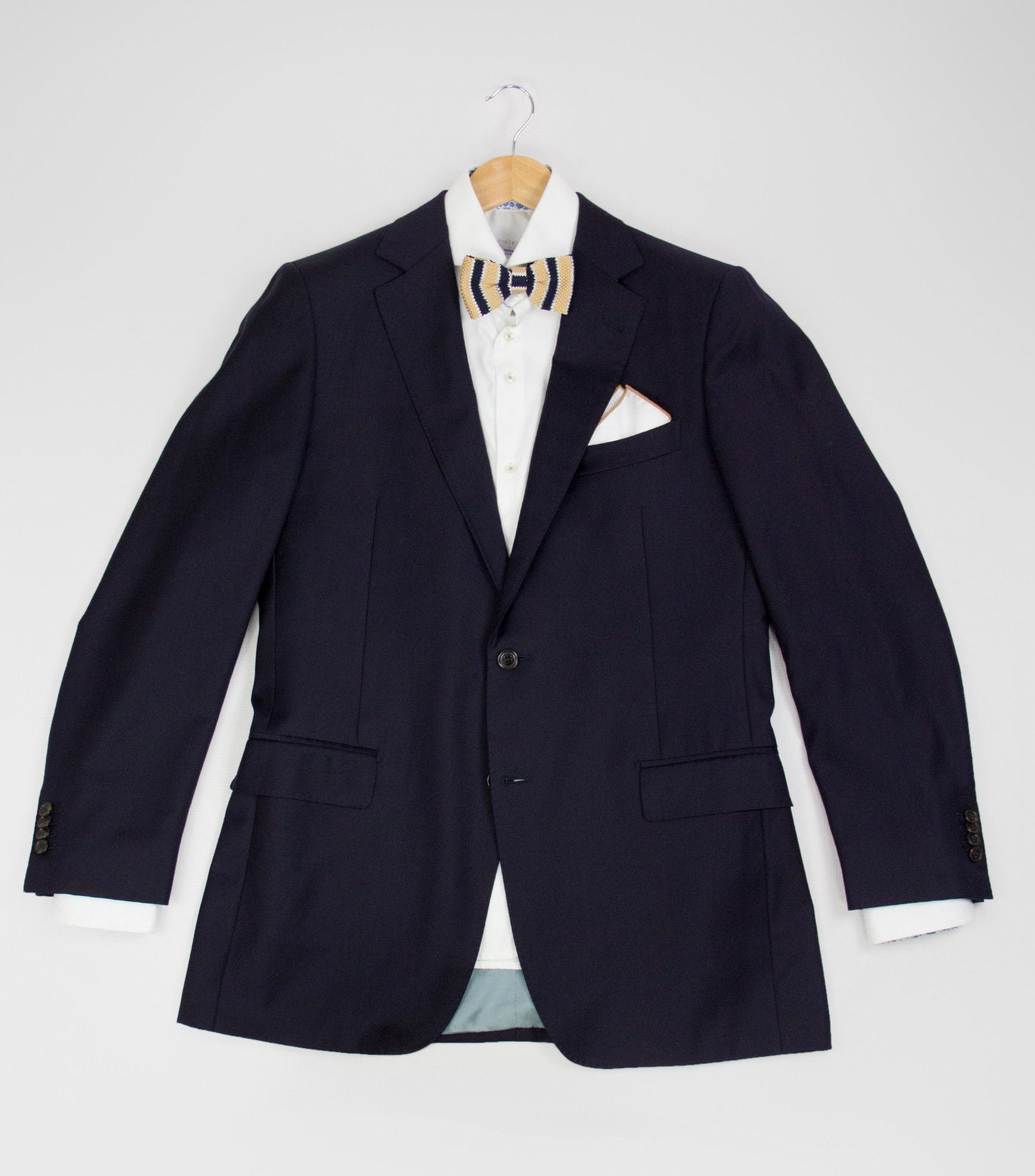 SUITSUPPLY Navy Blue Pure Wool Super 110's Blazer Jacket, USA 42 L - secondfirst