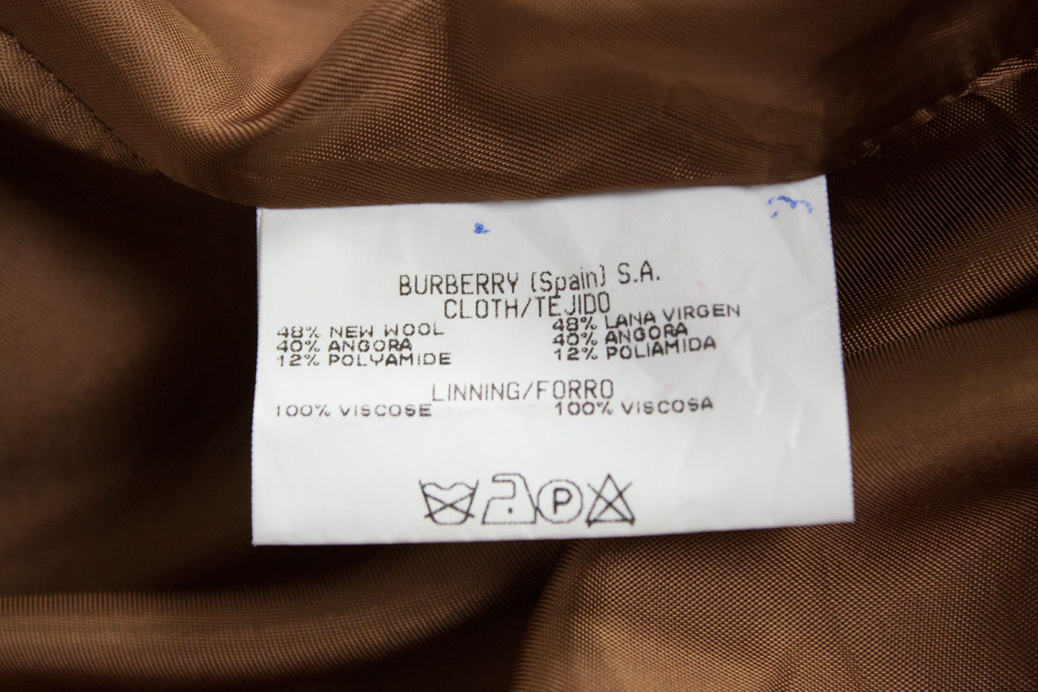 BURBERRY Wool-Angora Blend Double Breasted Camel Coat SIZE USA 16 - secondfirst