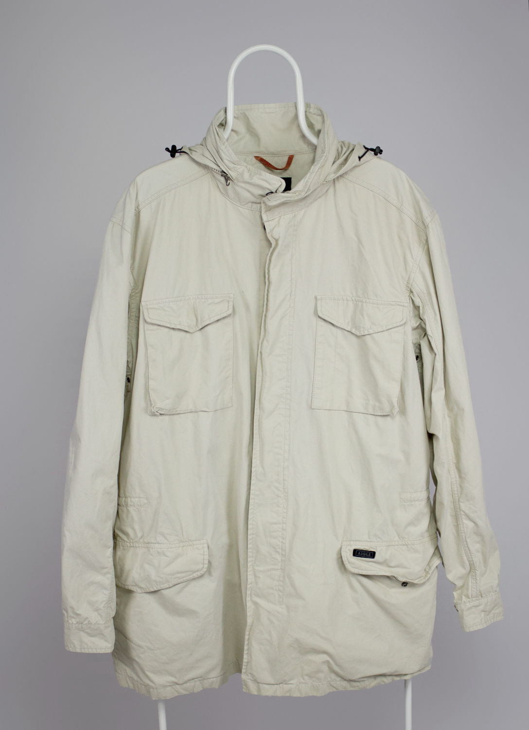 AIGLE men's Ivory Cotton Parka Safari Jacket, XXL - secondfirst