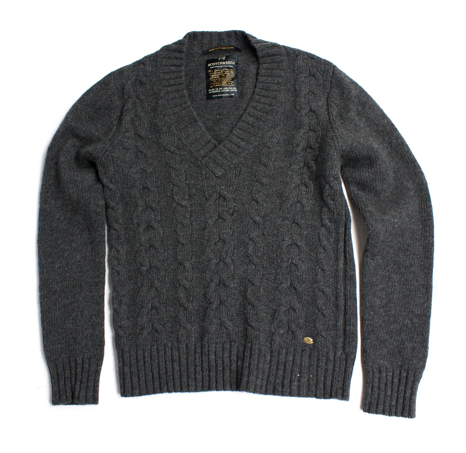 SCOTCH & SODA Men's Lambswool Jumper Sweater, L - secondfirst