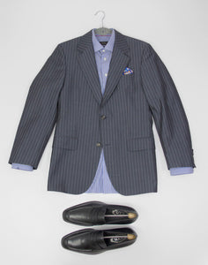 HUGO BOSS Wool-Cotton Striped Blazer. US,UK 38R/EU 48 - secondfirst