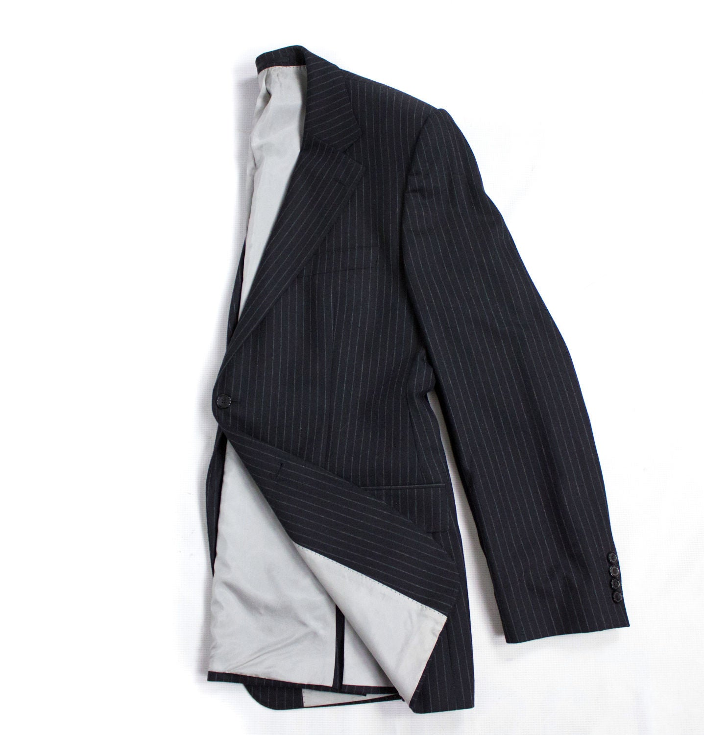 HUGO BOSS Cashmere-Wool Black Striped Blazer, US44/EU54 - secondfirst