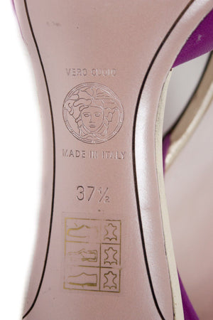 VERSACE Kitten Heel Slipper Sandals US 7, EU 37.5, UK 4.5 - secondfirst