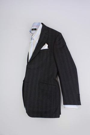 CANALI 100% Wool Striped Gray Blazer Jacket SIZE US 40R - secondfirst