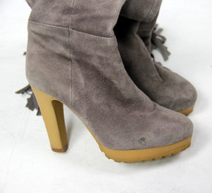 BELLE Top Collezione Italian Gray Suede Leather Fringe Heel Boots, EUR35/UK3/US5 - secondfirst