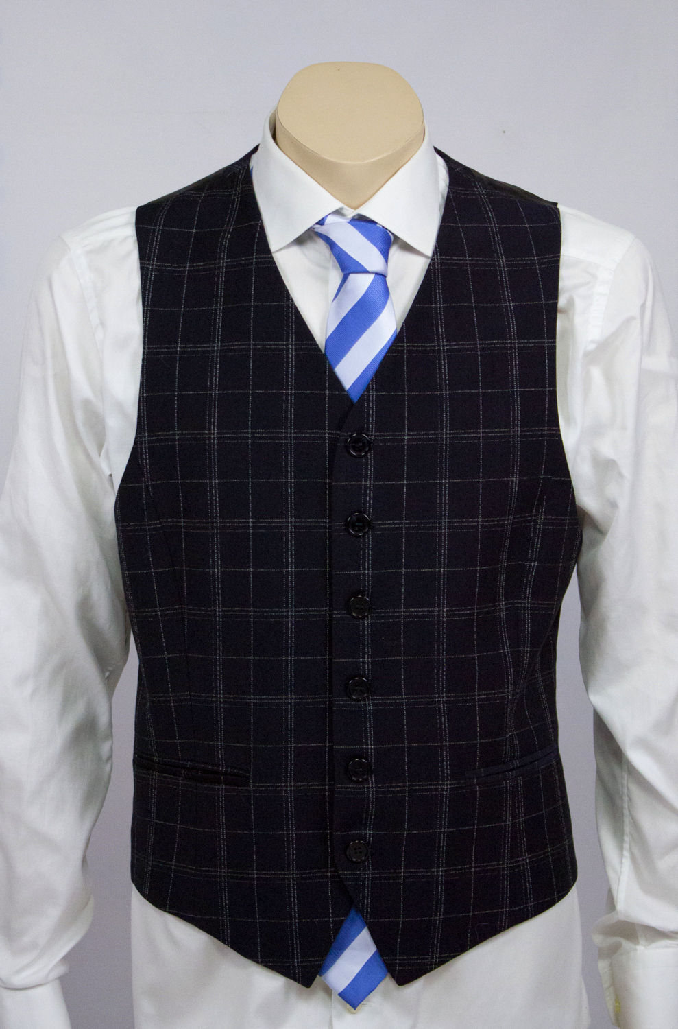 DOLCE & GABBANA Navy Blue Window Pane Suit (Vest+Jacket) USA 38R - secondfirst