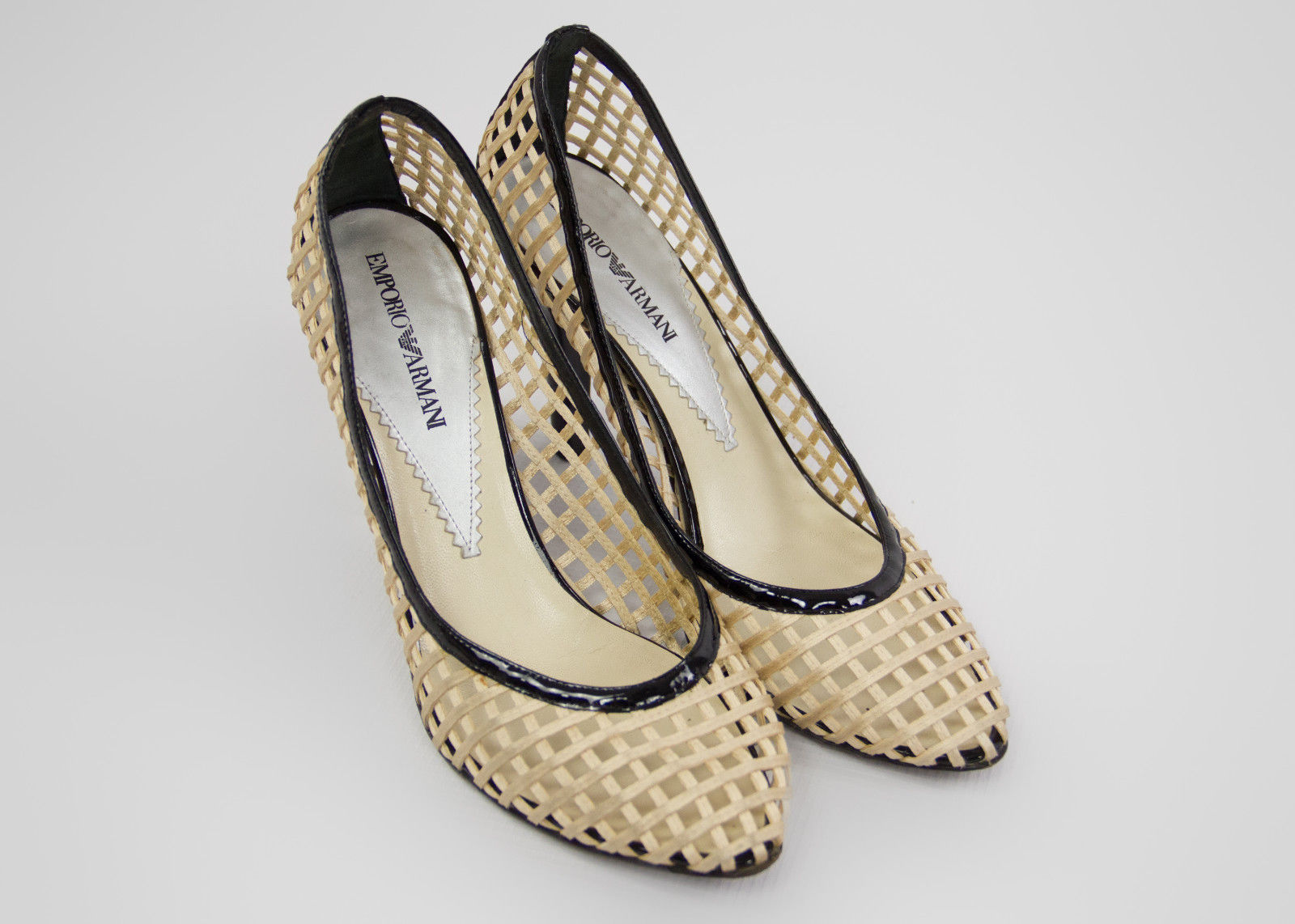 EMPORIO ARMANI Beige Silk Satin Basket Weave Woven Pumps US 7.5 - secondfirst