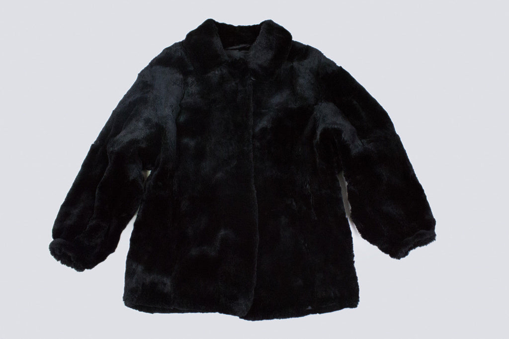 Tuva Turkis Black Very Soft Plush Mouton Coat, SIZE USA 8 - secondfirst