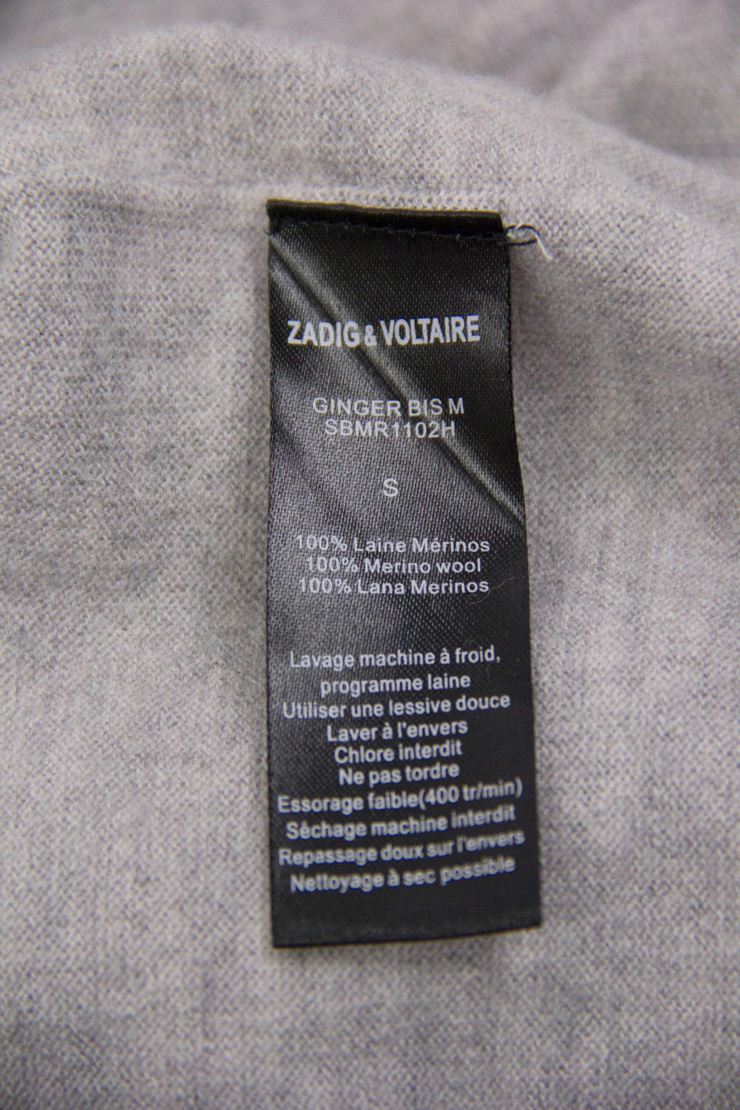 ZADIG & VOLTAIRE Merino Wool V neck Melange Gray Jumper, S - secondfirst