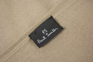 PAUL SMITH Merino Wool V-Neck Brown Jumper, L - secondfirst
