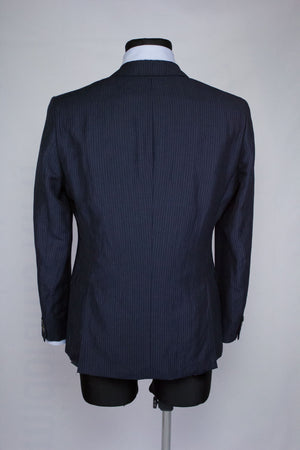 HUGO BOSS Linen & Wool Striped Blue Blazer, US 36R/EUR 46 - secondfirst
