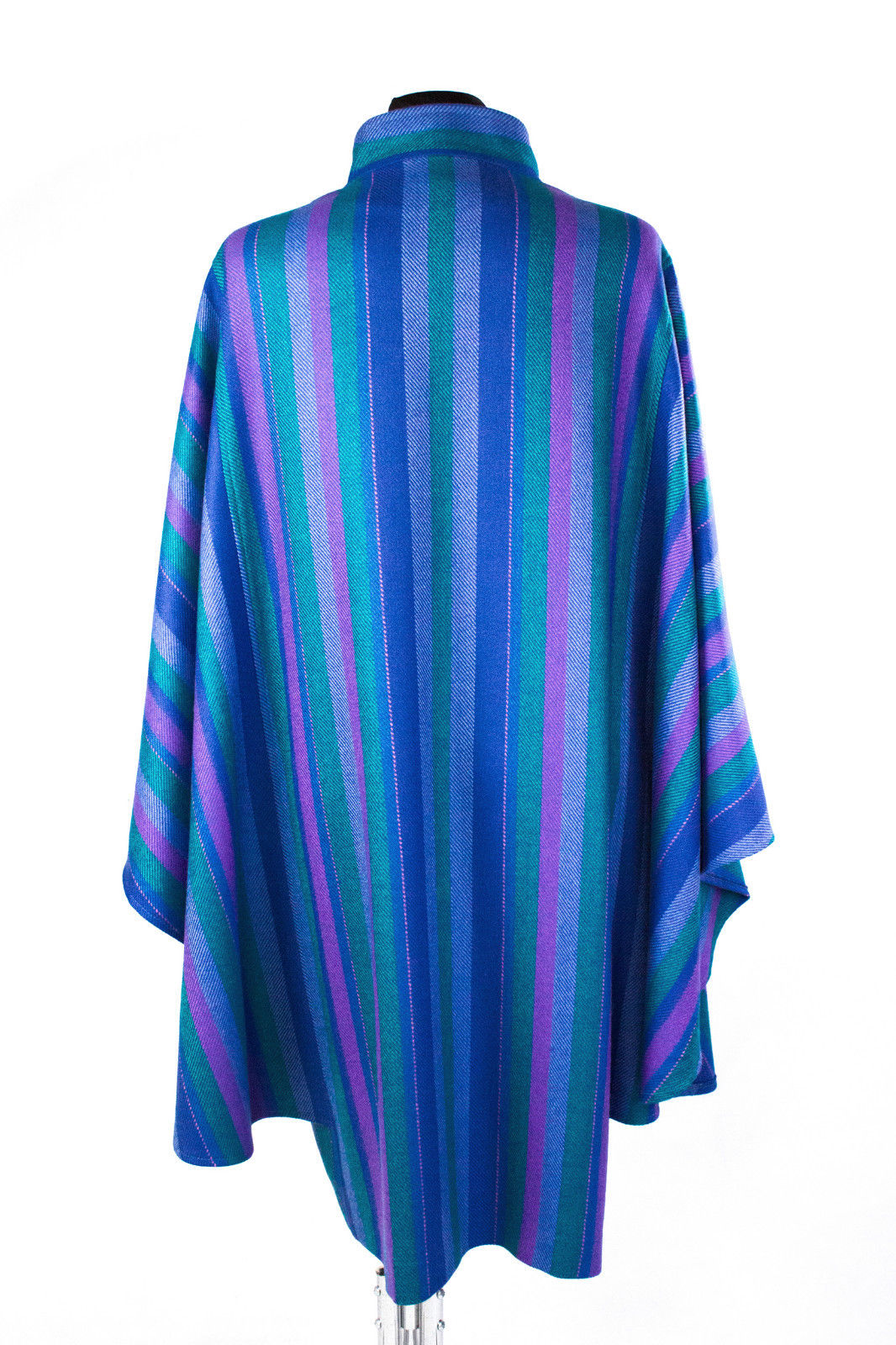 Avoca x Walbusch Vintage Soft Wool Blue Long Poncho Cape SIZE M - secondfirst