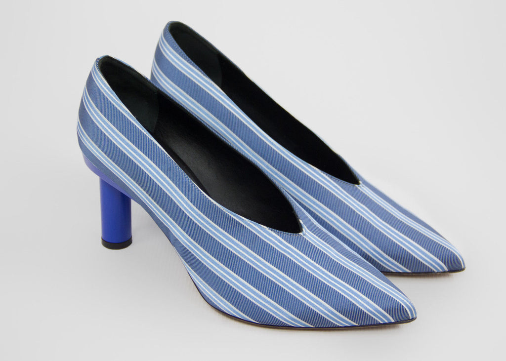TIBI Zuri Striped Baby Blue Silk Pumps High Heels SIZE 40 - secondfirst