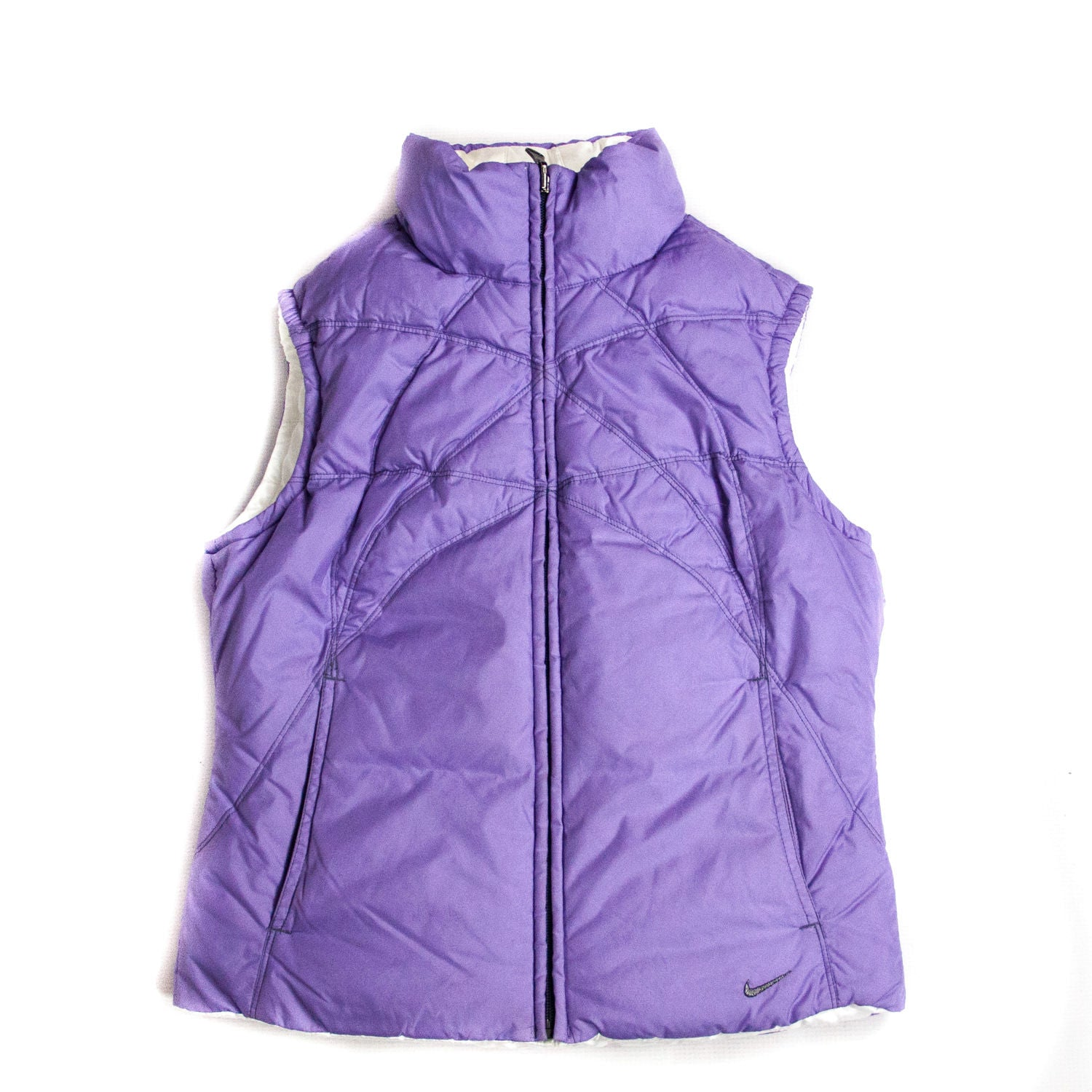 Nike Purple/White Reversible Puffer Down Vest, SIZE S - secondfirst
