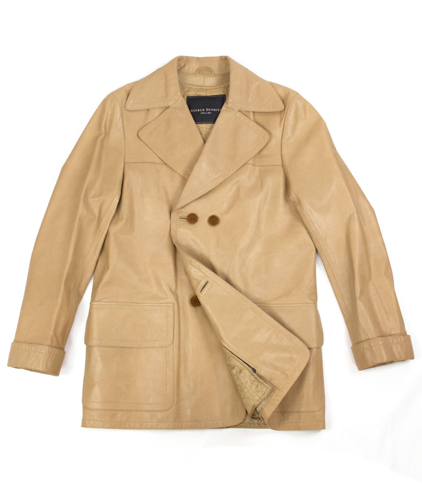 Alfred Dunhill  Calf Skin Leather Double Breasted Jacket; M, EU 48, USA 38 - secondfirst